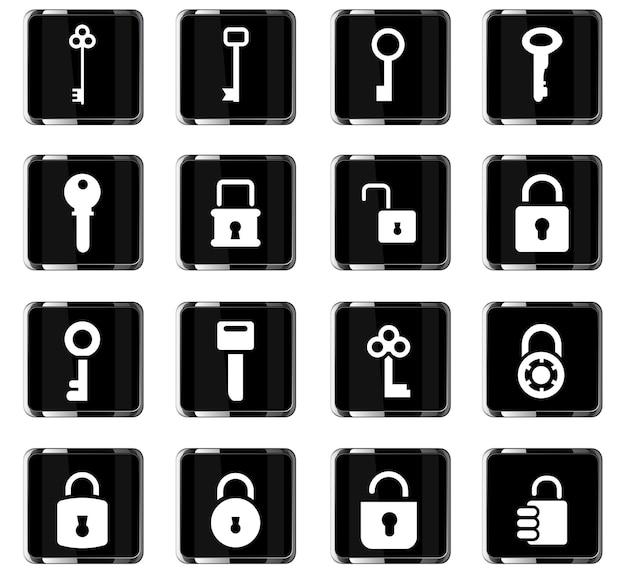 Zablokuj i kluczowe ikony wektorowe do projektowania interfejsu użytkownika