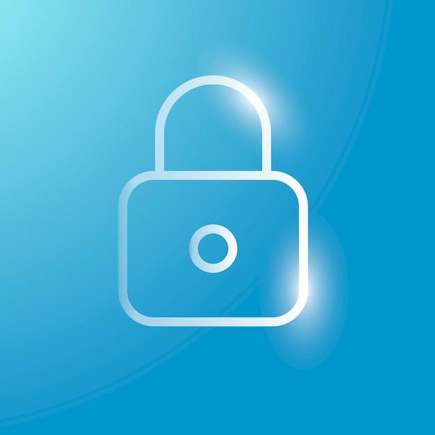 Zablokuj ikonę technologii wektorowej w kolorze srebrnym na gradientowym tle