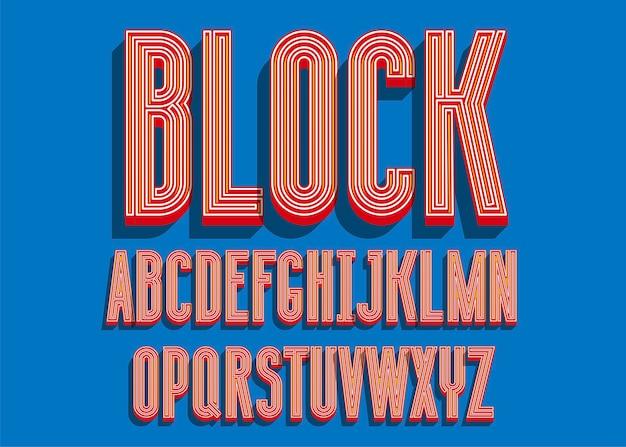 Zablokuj pogrubioną czcionkę. litery alfabetu 3d w kolorze.