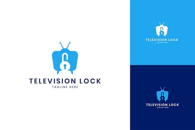 Zablokuj projekt logo negatywnej przestrzeni telewizyjnej