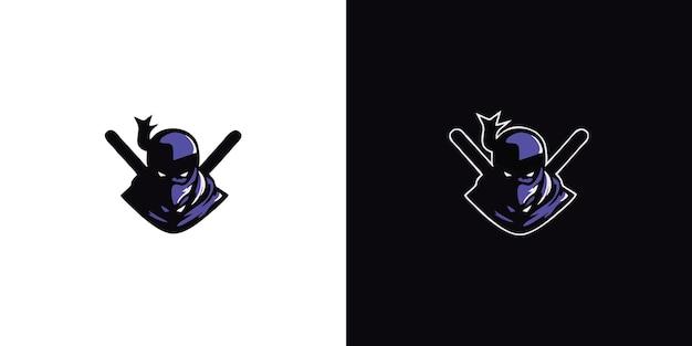 Zabójca wojownik maskotka logo ilustracja gry premium wektorów