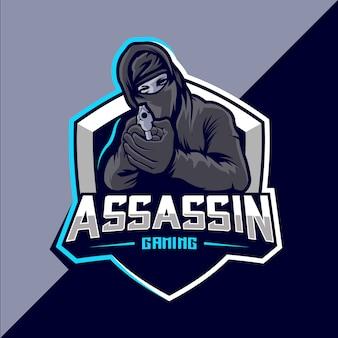 Zabójca z logo esport maskotki pistoletu
