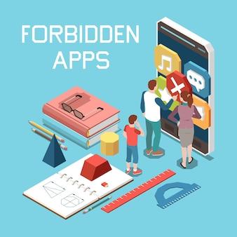 Zabronione treści online skład izometryczny kontroli rodzicielskiej z zakazem aplikacji na ekrany smartfonów nastolatków