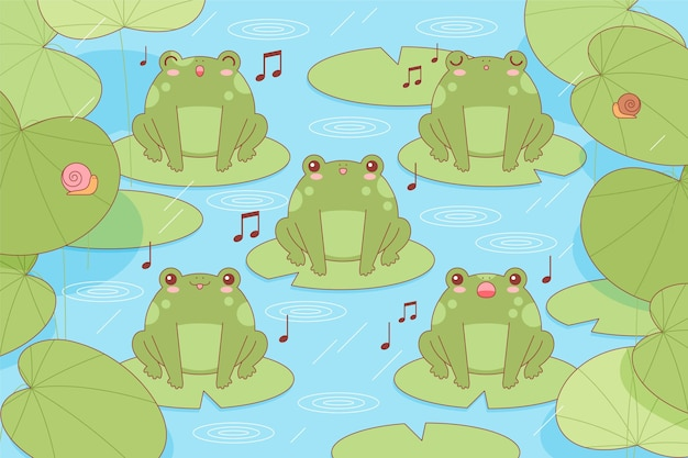 Żaby kawaii śpiewające na liliach wodnych