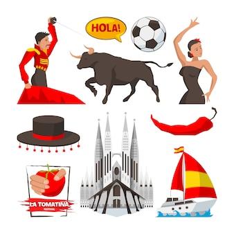 Zabytki i obiekty kultury oraz symbole hiszpańskiej barcelony. kultura hiszpanii, ilustracja turystyki hiszpańskiej, budownictwo i corrida