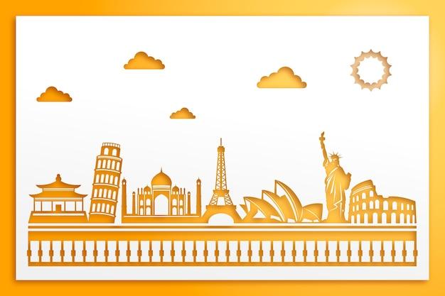 Zabytki koncepcja panoramę w stylu papieru