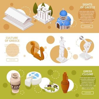 Zabytki kultury grecji, atrakcje turystyczne i izometryczna ilustracja kuchni