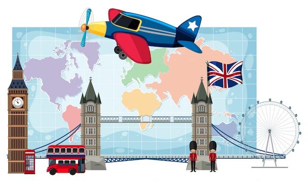 Zabytki londynu przed mapą