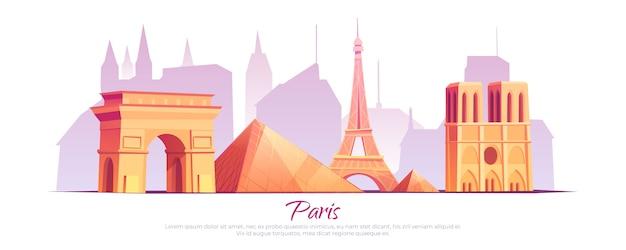 Zabytki paryża, francja panoramę miasta