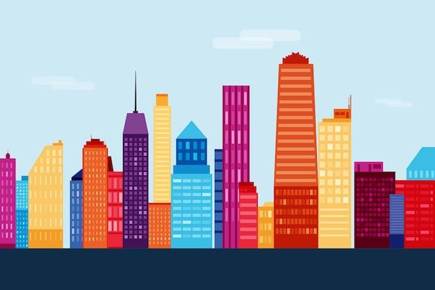 Zabytki skyline kolorowe