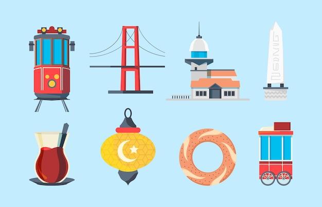 Zabytki stambułu. budynki muzułmańskie skylines tradycyjne budynki turcja most wektor znaki w stylu płaski. budowanie punktu orientacyjnego do ilustracji podróży i turystyki