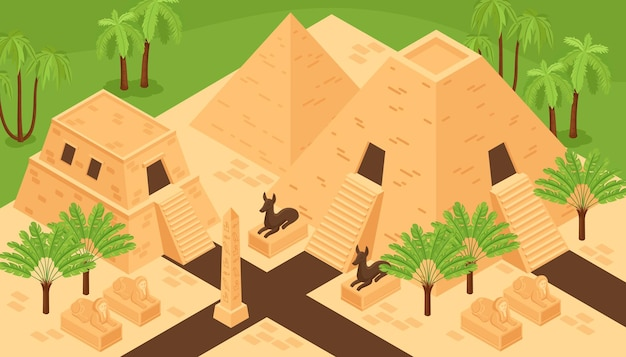 Zabytki starożytnego egiptu, zabytki, kompozycja izometryczna z piramidami w dolinie królów, bóstwem zwierzęcym