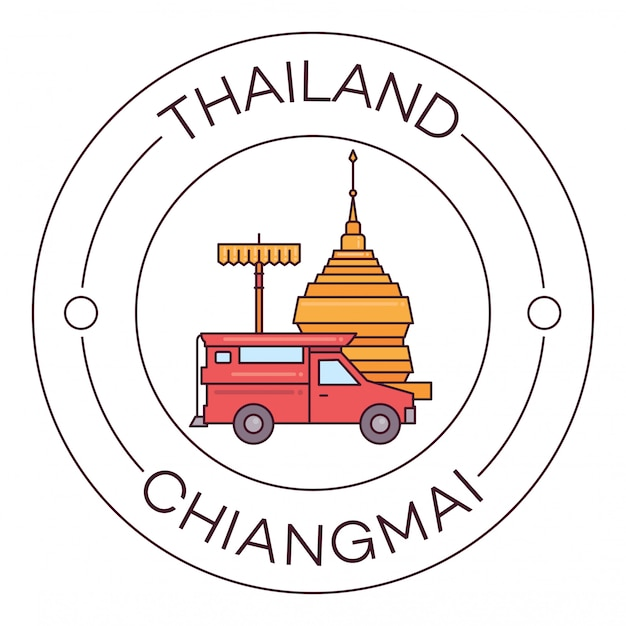 Zabytki tajlandia chiang mai płaska linia logo minimalista