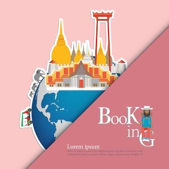 Zabytki tajlandii na świecie. tajlandia podróży koncepcji