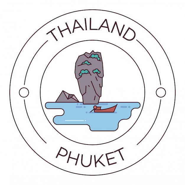 Zabytki tajlandii phuket flat line logo minimalist