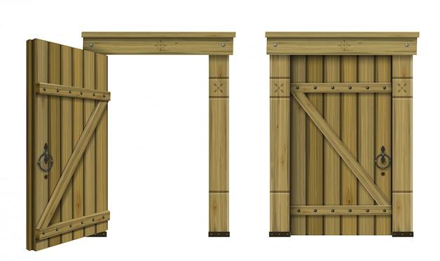 Zabytkowe drewniane drzwi łukowe fantasy