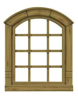 Zabytkowe drewniane łukowe okno fantasy skandynawski gotyk