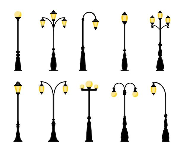 Zabytkowe latarnie uliczne. retro lampy uliczne na białym tle