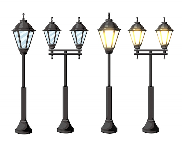 Zabytkowe latarnie uliczne. retro latarnia uliczna światła na białym tle na białym tle strona witryny sieci web i aplikacji mobilnej