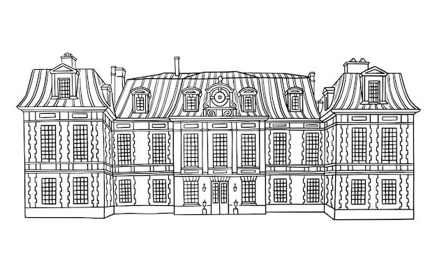 Zabytkowy budynek z mansardowym dachem z eleganckim wektorem elewacji z cegły i kamienia
