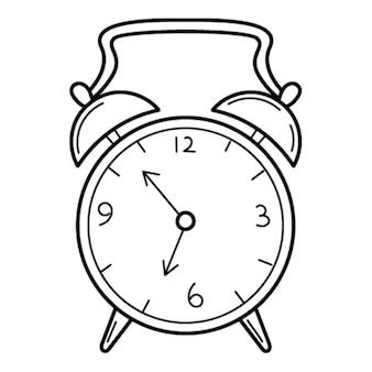 Zabytkowy budzik. styl bazgroły. ręcznie rysowane czarno-białe ilustracje wektorowe