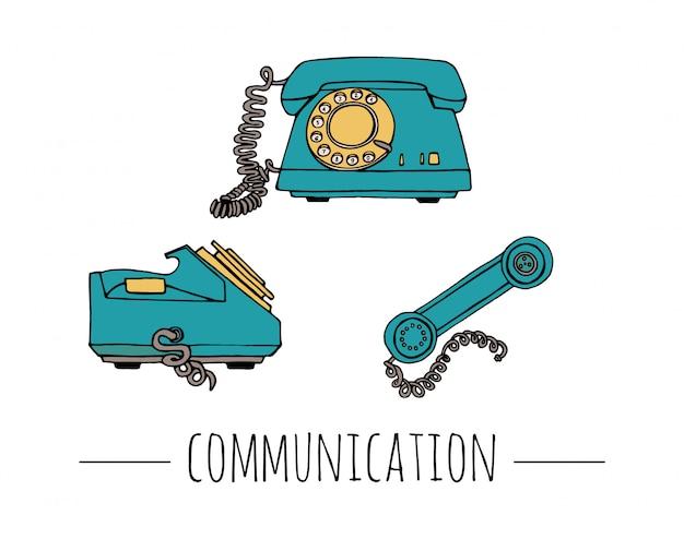 Zabytkowy zestaw telefoniczny. retro ilustracja przewodowy obrotowy telefon z tarczą. stare środki komunikacji