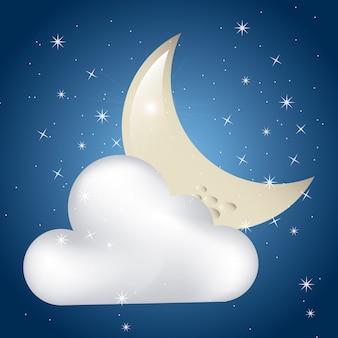 Zachmurzony księżyc nad tle niebo gwiaździste vectror ilustracji