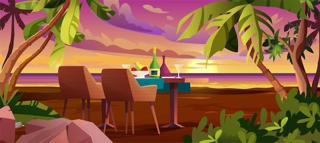 Zachód lub wschód słońca, świt na morzu z chmurami na niebie. miejsce na romantyczną kolację.