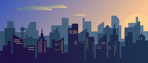 Zachód lub wschód słońca w nowoczesnym mieście. ilustracja.
