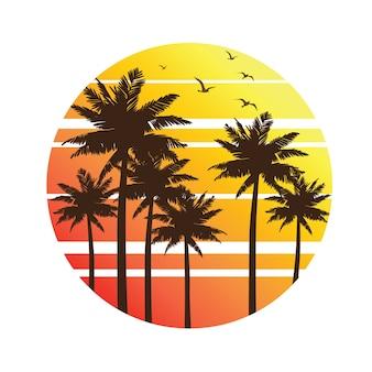 Zachód słońca palmy