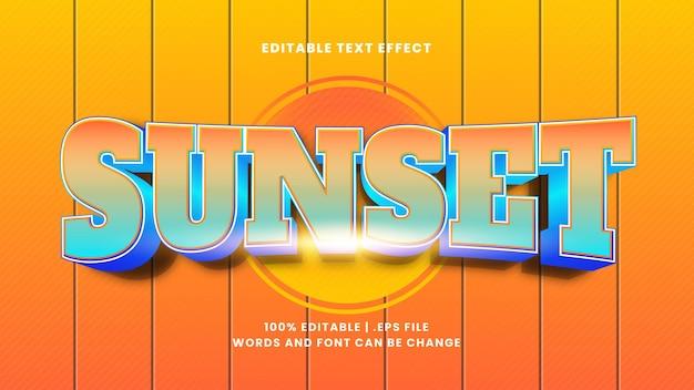 Zachód słońca edytowalny efekt tekstowy w nowoczesnym stylu 3d