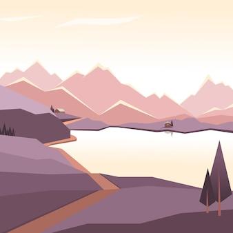Zachód słońca górskie jezioro płaskie wektor ilustracja gór wieczornego nieba z kempingiem w słońcu