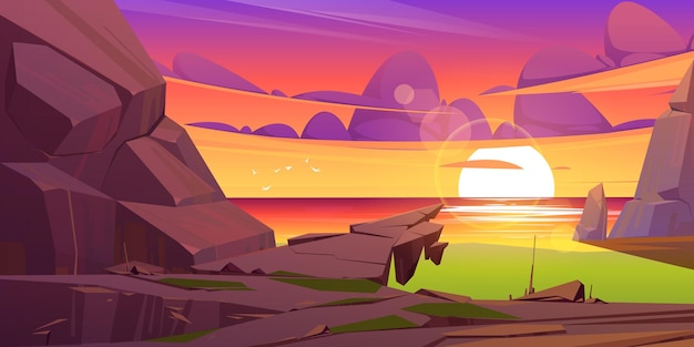 Zachód słońca krajobraz z morzem i górami