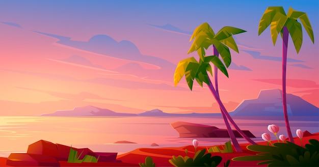 Zachód słońca lub wschód słońca na plaży, tropikalny krajobraz