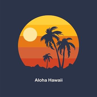 Zachód słońca na aloha na hawajach