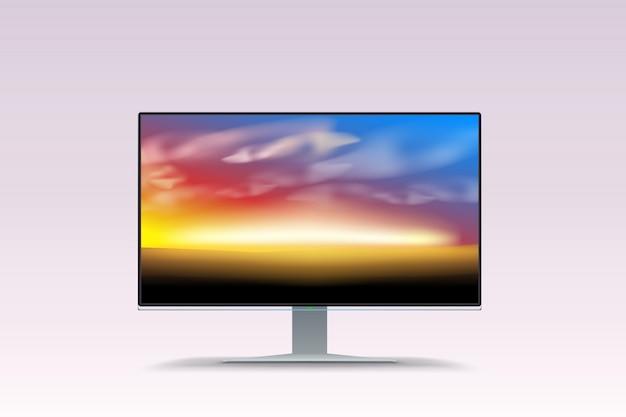 Zachód słońca na ekranie lcd