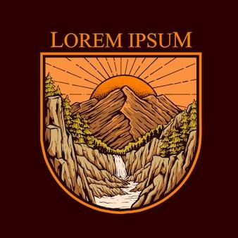 Zachód słońca na ilustracji górskich klifów