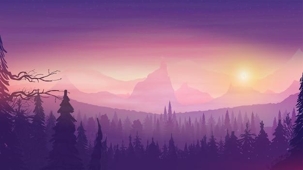 Zachód słońca na pagórkowatym terenie, świerkowy las, kolorowe rozgwieżdżone niebo i skalisty horyzont