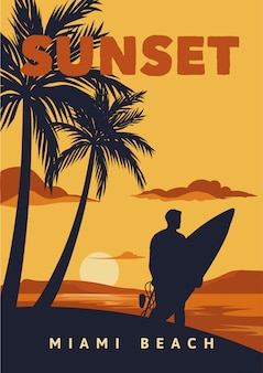 Zachód słońca na plaży w miami surfowanie rocznika plakat
