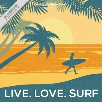 Zachód słońca na tle plaży surfowania z inspirujących słów
