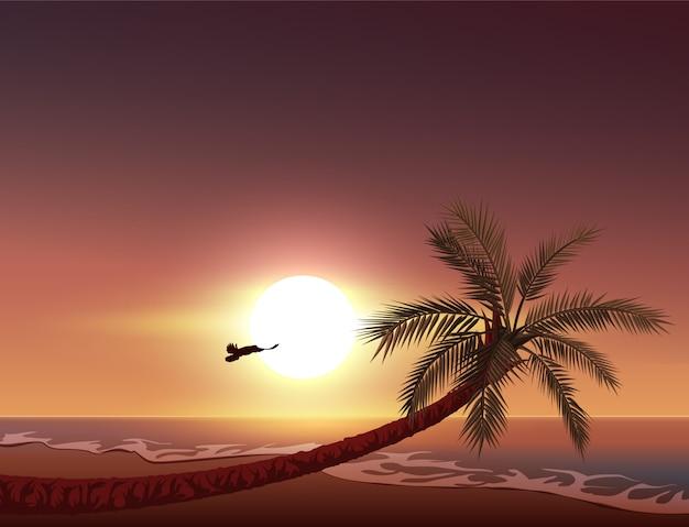 Zachód słońca na tropikalnej wyspie. słońce zachodzi w oceanie