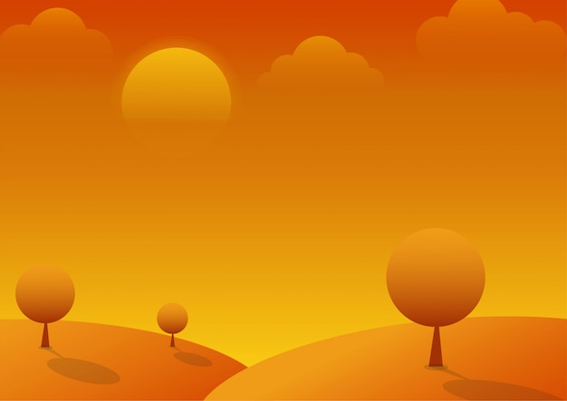 Zachód słońca na wzgórzu