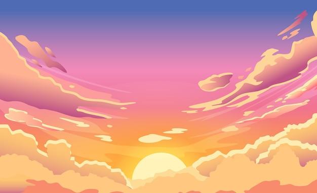 Zachód słońca niebo. kreskówka letni wschód słońca z różowymi chmurami i słońcem, wieczorem pochmurna panorama nieba