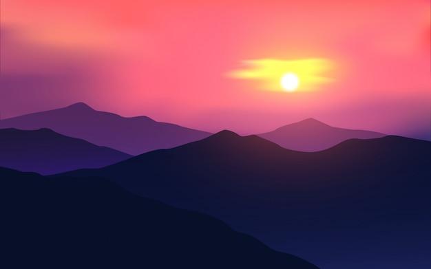 Zachód słońca niebo w górach