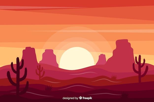 Zachód słońca różowy krajobraz pustyni