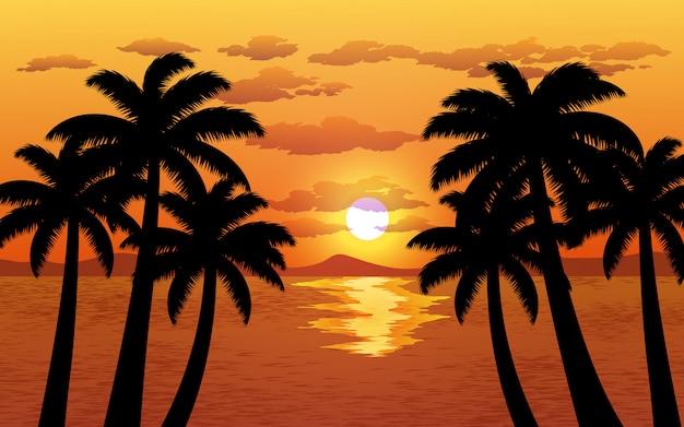 Zachód słońca sylwetka drzewa palmowego