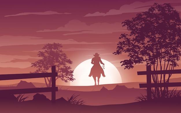 Zachód słońca sylwetka krajobraz z kowbojem na koniu