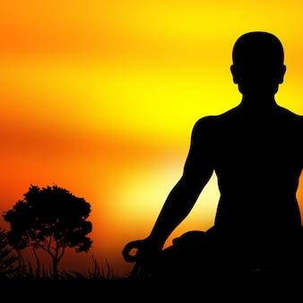 Zachód słońca sylwetka medytacji