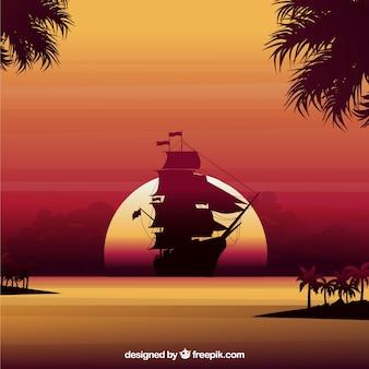 Zachód słońca tła z łodzi sylweta