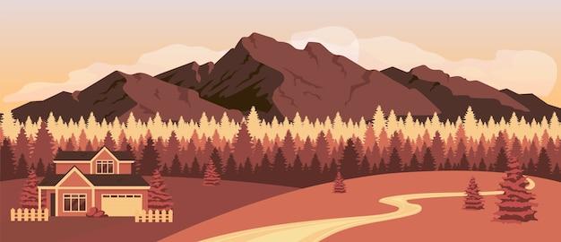 Zachód słońca w górach płaski kolor ilustracji
